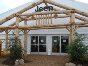 Entrance to a 20000 squar foot clearspan tent for the Jeep division of Chrysler