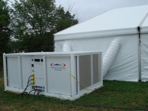 a 25 ton HVAC unit cooling a large clearspan tent