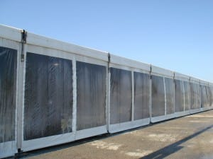 clear side walls on a large clear span rental tent