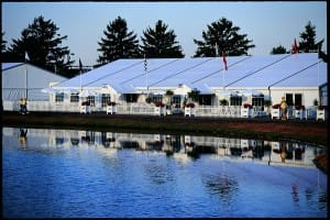 clearspan corporate chalets for clients to use during a major professional gold tournament