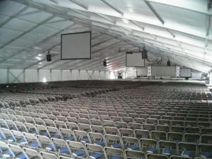 college graduation clear span tent, rental floor and carpeting