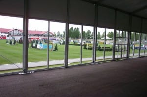 glass side walls for a clear span rental tent, glass walls american pavilion