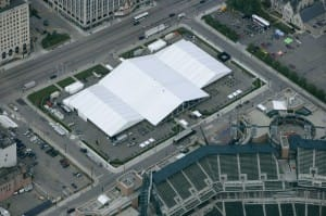 large clear span tents used for a sporting event. american pavilion