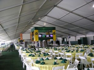 large clearspan rental tent. Seated over 2.000 people for a sit down dinner