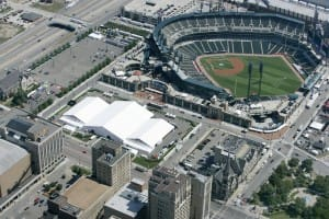over 50000 square feet of clear span tents installed for the MLB All-Star baseball game